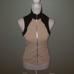 Bebe Sport Vest Tan, Black and White Size Small
